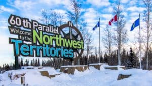 A sign at the Alberta border welcomes travellers to the Northwest Territories