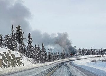 A photo submitted by Lynn Julian shows smoke from a fire on the Ingraham Trail on February 19, 2020