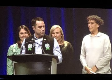 A photo published by Arctic Inspiration Prize organizers shows leaders of the Northern Compass project accepting their $1-million award