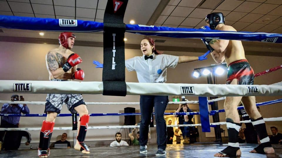 Yellowknife's Todd Vatcher, left, in action during the Fight For Her event in Yellowknife on February 22, 2020