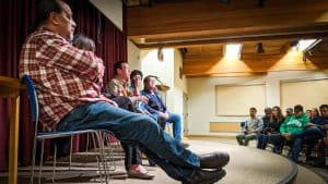 Six of the eight Turning Points participants take part in a question-and-answer session following a Yellowknife screening on February 1, 2020