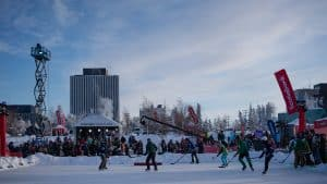 Yellowknife's Somba K'e Park was packed with hockey players and spectators during Hockey Day in Canada. Sarah Pruys/Cabin Radio
