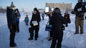 Ron McLean goes live for Hockey Day in Canada in downtown Yellowknife. Sarah Pruys/Cabin Radio