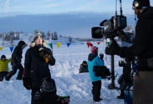 Ron MacLean is live during a Hockey Day in Canada broadcast from downtown Yellowknife. Sarah Pruys/Cabin Radio