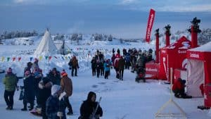 Hockey Day in Canada was in full swing at Somba K'e Park in Yellowknife. Sarah Pruys/Cabin Radio