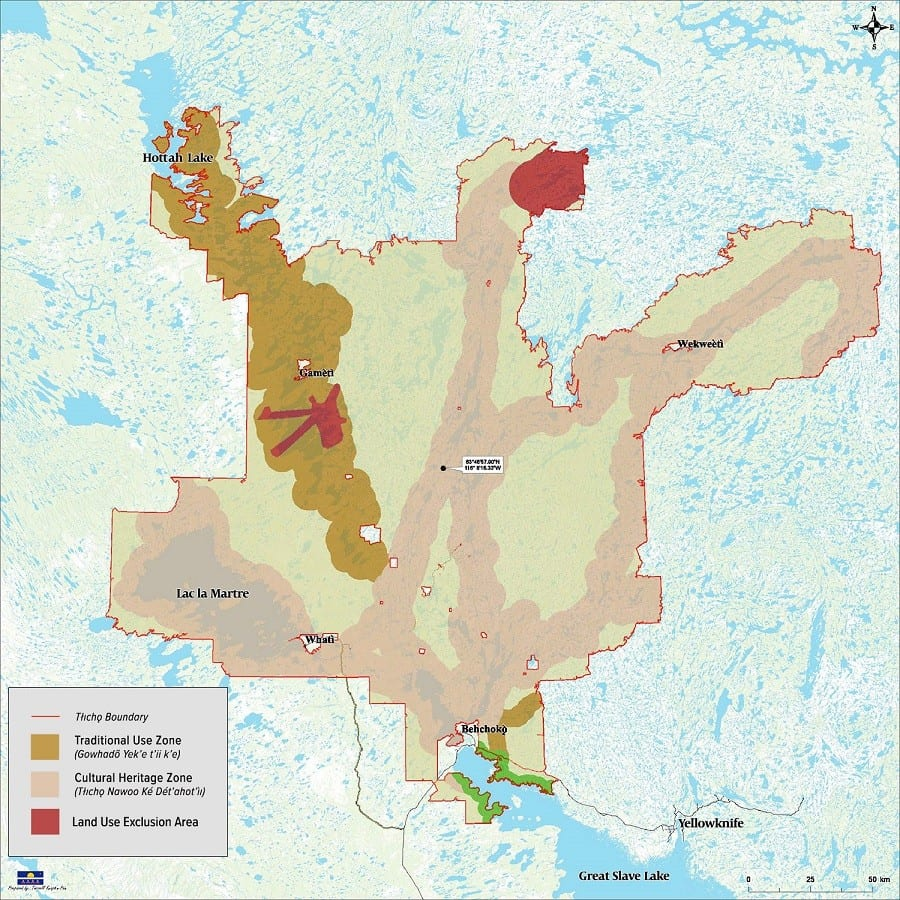 A map issued by the federal government shows  the Traditional Use Zone and Cultural Heritage Zone