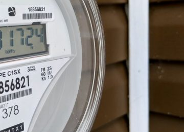 An electricity meter outside a home in Yellowknife