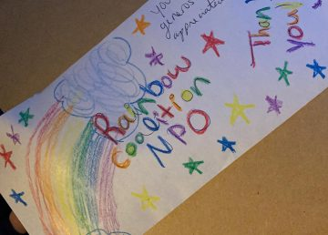 A note of appreciation for the Rainbow Coalition of Yellowknife, posted to Facebook, from a recipient of art supplies