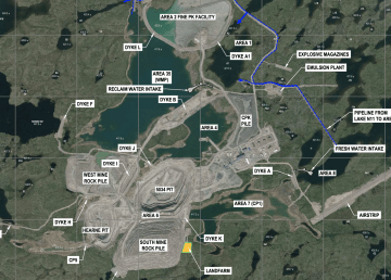 A technical diagram of the Gahcho Kué mine site