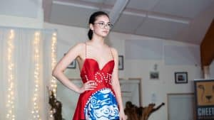 A D'Arcy Moses piece is modelled at a fashion show finale to the 2020 Naka Festival