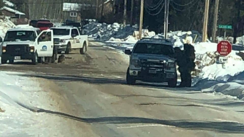 A submitted photo of RCMP vehicles on Fort Smith's Calder Avenue on March 31, 2020