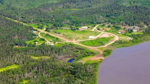 An aerial view of the northern Alberta community of Fort Fitzgerald. John David McKinnon/JDM Geographic