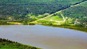 An aerial view of the northern Alberta community of Fort Fitzgerald. John David McKinnon/JDM Geographic