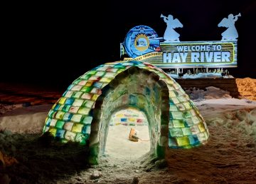 An igloo at the entrance to Hay River in February 2020