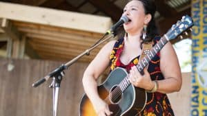Leela Gilday performs at Folk on the Rocks in July 2019. Sarah Pruys/Cabin Radio