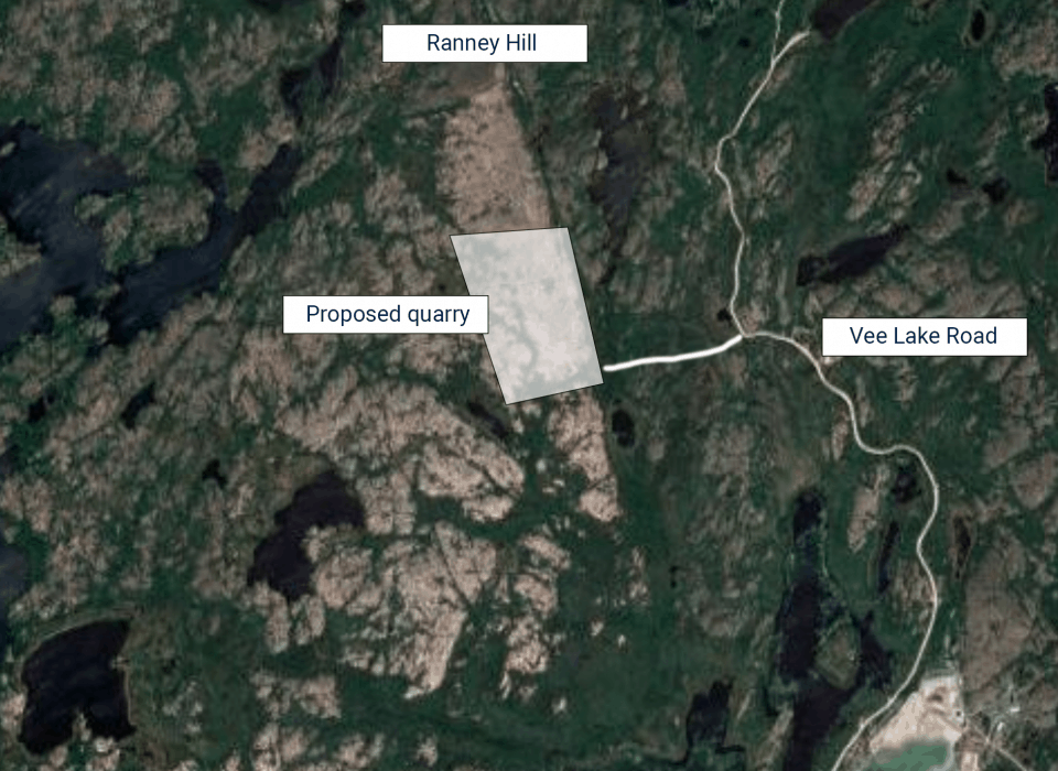 Map of proposed quarry and Ranney Hill