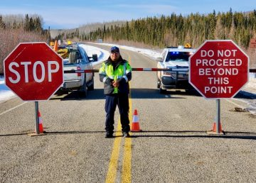 A highway closure at the NWT border during the Covid-19 pandemic