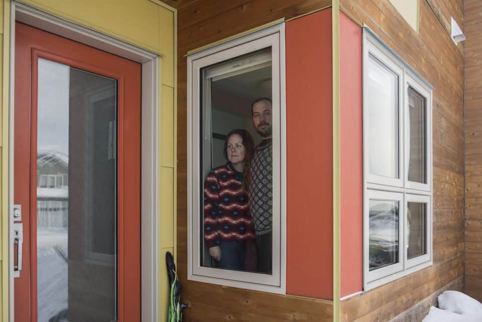 Two Yellowknife residents practise social distancing at home