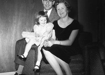 A photo taken by Henry Busse shows John Parker with his wife, Helen, and daughter, Sharon, at home in Yellowknife in 1958.