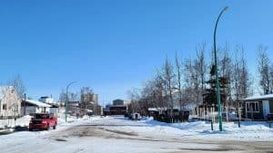 Yellowknife's 46 Street stands deserted in April 2020