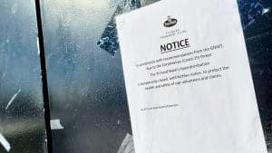 A notice during the Covid-19 pandemic warns of the closure of the YK Food Bank distribution centre