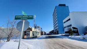 Yellowknife's Veterans Memorial Drive, also known as 49 Avenue, is seen in April 2020