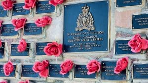 A tribute in Yellowknife to RCMP members who gave their lives performing their duties