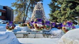 A memorial on Yellowknife's Veterans Memorial Drive