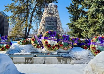A memorial on Yellowknife's Veterans Memorial Drive