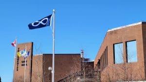 A Métis flag flies outside Yellowknife City Hall in April 2020
