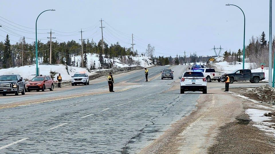 A pandemic enforcement checkstop in Yellowknife on April 18, 2020
