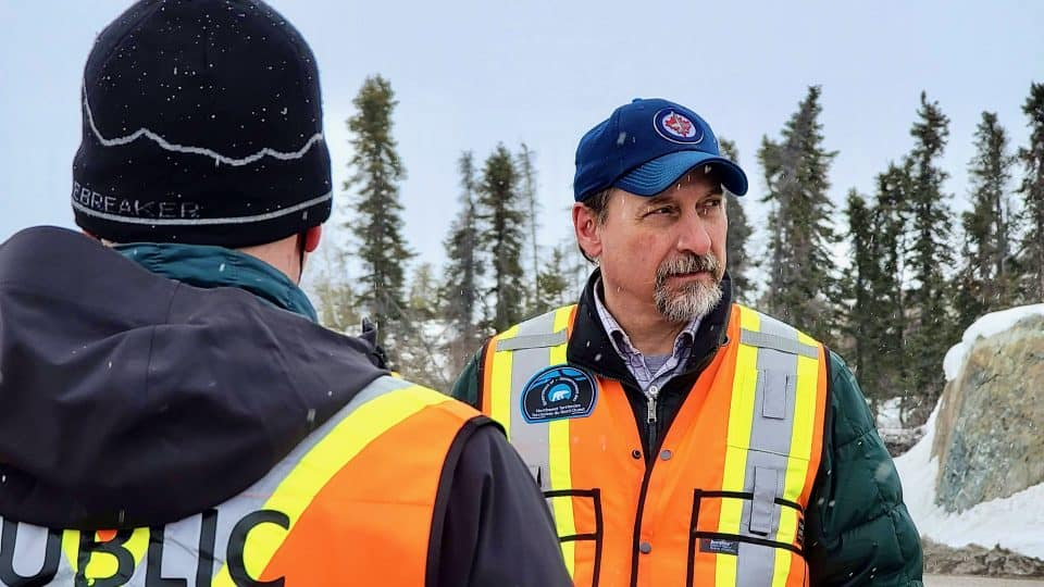 Conrad Baetz, right, leads the NWT's pandemic enforcement task force
