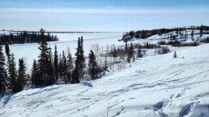 A view of Yellowknife Bay from Tin Can Hill in April 2020