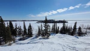 A view of Yellowknife's Mosher Island from Tin Can Hill in April 2020