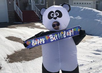 Mira McCagg, aka the Arctic panda, is helping to spread cheer to those celebrating birthdays in isolation