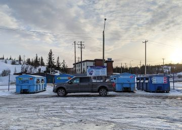 Yellowknife's Old Town recycling drop-off in April 2020