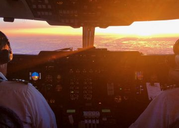 A photograph inside a Summit Air cockpit shared by the airline to Facebook in April 2020