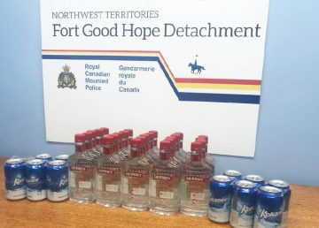 An RCMP photo of the alcohol seized in Fort Good Hope on April 11, 2020.