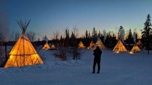 Aurora Village at night in March 2020
