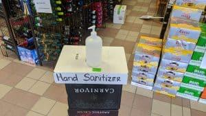 A hand sanitizer dispenser inside Yellowknife's downtown liquor store