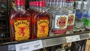 Mickeys of spirits on sale at a Yellowknife liquor store