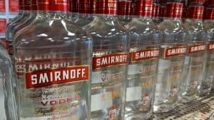 A file photo of vodka bottles at an NWT liquor store