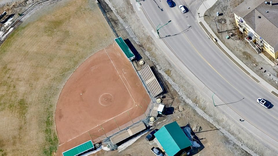 The Tommy Forrest Ballpark is seen from the air in May 2020