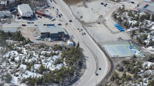 CBC North's Yellowknife studios, left, are seen from the air in May 2020