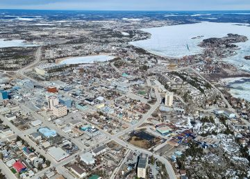 Yellowknife is seen from the air in May 2020