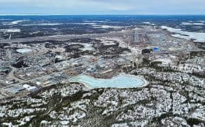 Yellowknife's Old Airport Road and airfield from the air. Ollie Williams/Cabin Radio