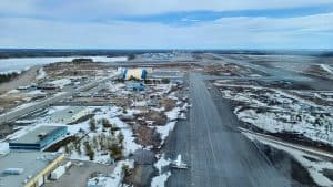Light aircraft at Yellowknife Airport in May 2020