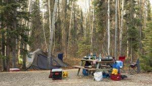 A campsite at Sambaa Deh Territorial Park in 2019. Sarah Pruys/Cabin Radio