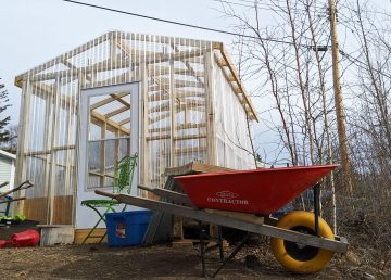 A photo of France Benoit's urban farm in Yellowknife. Sarah Pruys/Cabin Radio