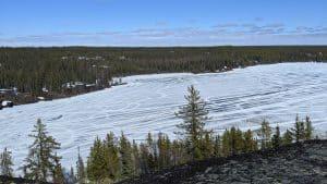 Big Hill Lake in May 2020. Sarah Pruys/Cabin Radio